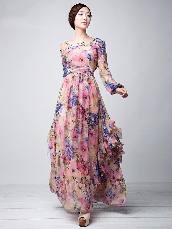 Robe fleurie avec manche
