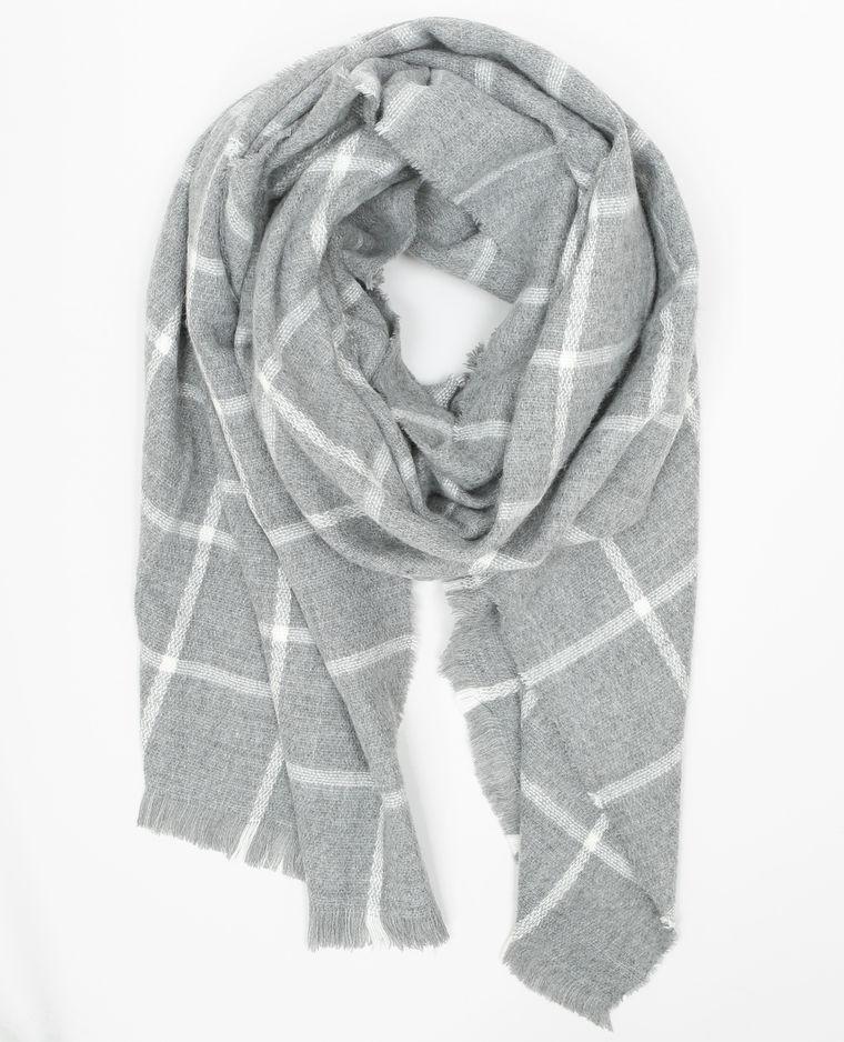 Echarpe plaid grise et blanche - Idée pour s habiller a97853f04cb