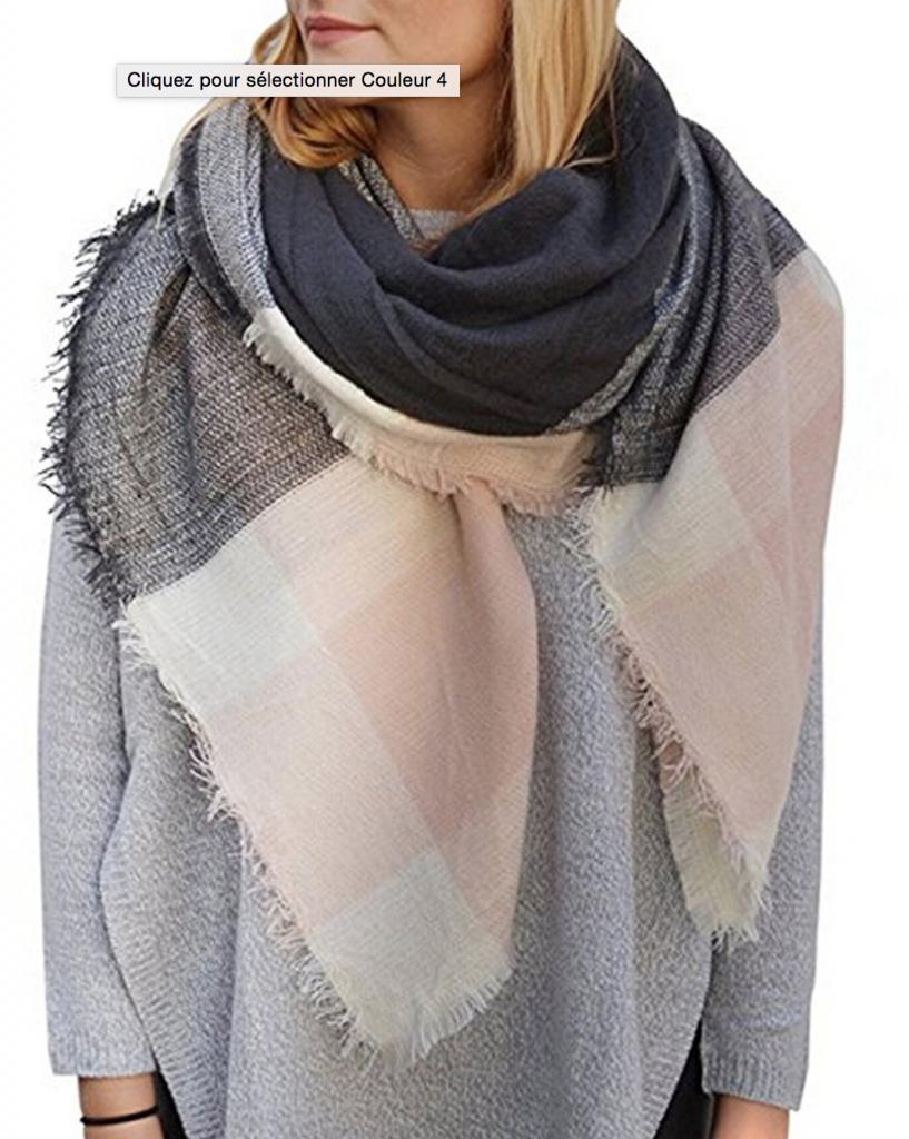 d98d7140bbaf écharpe plaid femme rose - Idée pour s habiller