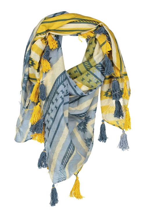 Echarpe femme bleu et jaune - Idée pour s habiller e47e3acaf42