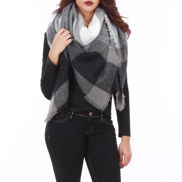290c3db9f29a écharpe carrée oversize à carreaux noirs - Idée pour s habiller