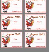 Etiquette cadeau joyeux noel a imprimer